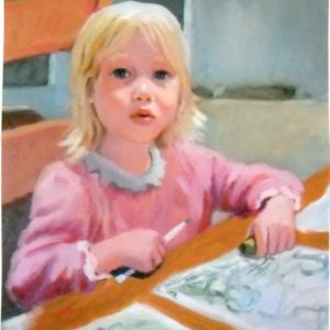 Daisy Drawing 16x20 oil on canvas - Portrait