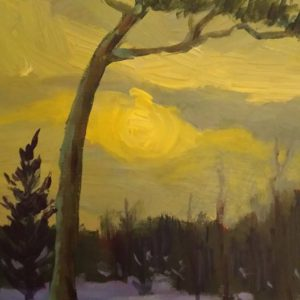 Yellow Sky - Point Pleasant 8x10 acrylic on panel  500.00