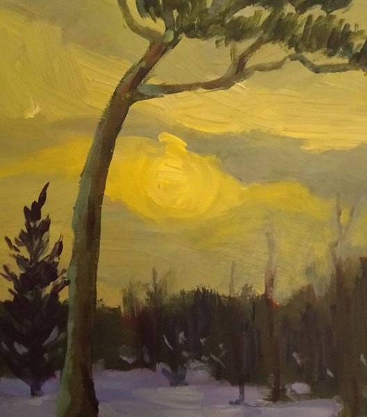 Yellow Sky - Point Pleasant 8x10 acrylic on panel  500.00